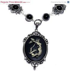 Neo Victorian Steampunk Goth Jewelry - Necklace - Mermaid -Silver-tone. $49.00, via Etsy.
