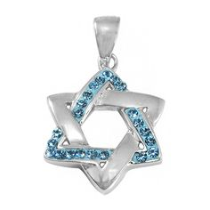 Sterling Silver & Crystal Magen David (Jewish Star) Pendant... ($44) ❤ liked on Polyvore featuring jewelry, pendants, sterling silver jewelry, crystal pendant, sterling silver star jewelry, star jewelry and crystal stone jewelry