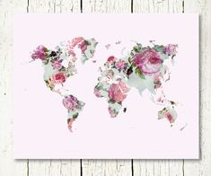 Pink watercolour world map thoughts and feelings pinterest floral world map print download purple pink by sunnyrainfactory gumiabroncs Image collections