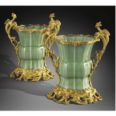 A PAIR OF GILTBRONZE MOUNTED CELADON PORCELAIN VASES, THE PORCELAIN CHINESE QIANLONG (1735-1795), THE MOUNTS IN LOUIS XV STYLE Sotheby's