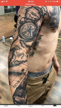 Travel tattoo nautical tattoo sleeve, leg sleeve tattoo, half sleeve tattoos for men, Map Tattoos, Side Tattoos, Arm Tattoos For Guys, Trendy Tattoos, Cool Tattoos, Compass Tattoos For Men, Pirate Compass Tattoo, Compass Thigh Tattoo, Compass And Map Tattoo