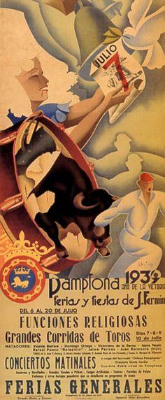 Spain. San Fermin Festival poster, 1939, Pamplona