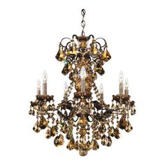 Schonbek Lighting - Schonbek Lighting 3656-76TK New Orleans Heirloom Bronze 7 Light Chandelier - 7 Bulbs, Bulb Type: 60 Watt Incandescent; Product made-to-order, 6-8 week lead time