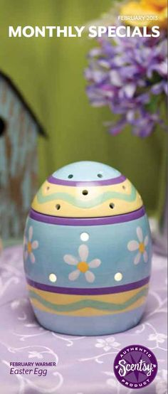 Easter Egg - Feburary 2013 Warmer of the Month. As colorful as the coming spring, Easter Egg is the perfect present for any basket! Layers of pretty, hand-painted pastel patterns and dancing daisies decorate its glossy surface. Open it, and you'll find a clever treat – a warmer dish nestled right into the egg.