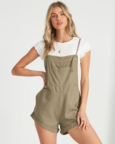 billabong, Wild Pursuit Short Overall, SAGE (sag) Cute Outfits With Shorts, Shorts Outfits Women, Short Outfits, Trendy Outfits, Summer Outfits, Fashion Outfits, Cool Outfits, Jean Short Overalls, Cute Overalls