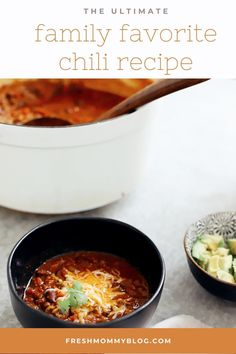 Easy Family Favorite Chili recipe! Make this delicious classic homemade chili in the crockpot or in one pot easily. It's THE BEST CHILI, and my family asks me to make it over and over.   Chili Recipe by popular Florida lifestyle blog, Fresh Mommy Blog: Pinterest of chili in a black ceramic bowl with shredded cheese on top. Chili Recipes, New Recipes, Healthy Recipes, Fall Recipes, Weeknight Meals, Easy Meals, Kinds Of Steak, Spicy Stew, Favorite Chili Recipe