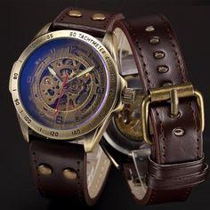 Antique Bronze Automatic Skeleton Mechanical Watch Men