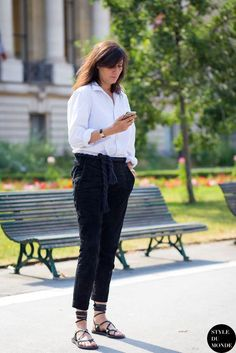 Emmanuelle Alt // white button-down shirt, rope belt, cropped pants & lace-up sandals #style #fashion #streetstyle