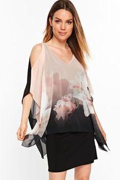 Jasnoróżowe Miękkie Lily Overlay Print Dress