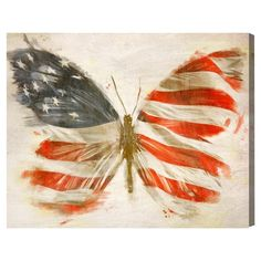 "Oliver Gal Unframed Wall ""American Butterfly"" Canvas Art offers a unique take on the iconic American flag. This contemporary canvas wall art will transform any wall with its unpretentious elegance. Flag Painting, Painting Prints, Art Prints, Canvas Paintings, Pallet Painting, Pallet Art, Artist Painting, Butterfly Wall Art, Butterfly Painting"