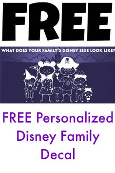 LIMITED Amount!!! FREE Personalized Disney Decal + FREE Shipping!!  Customize it for all of your family members and pets!!