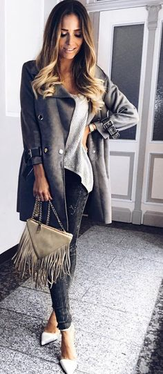 #fall #outfits · Grey Coat + Dark Jeans + Heels