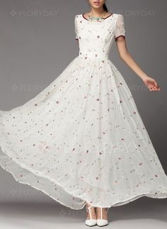 Kleider -  142.62 - Spitze Blumen kurze Ärmel Maxi Lässige Kleidung Kleider… 97da2a7ee3