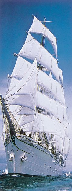SAILING SHIP  with all rigging up as there's a strong wind