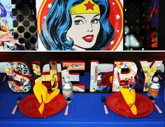 """Doesn't this Wonder Woman birthday party look SUPER fun?! (Pun intended!) I'm dying to throw a """"Wonder Mom"""" baby shower or """"Wonder Bride"""" bridal shower for"""