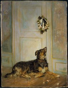 """Dog in Mourning"", painted by Henry Bacon in 1870. The mourning is probably for a child, since the crepe on the door is white tied with black. Currently held by the MFA, Boston."