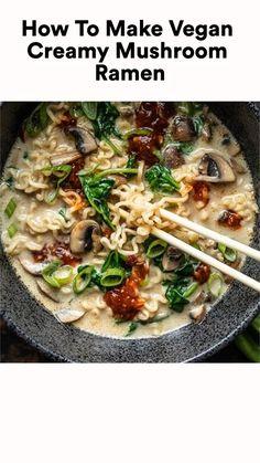 Tasty Vegetarian Recipes, Veggie Recipes, Asian Recipes, Soup Recipes, Whole Food Recipes, Cooking Recipes, Healthy Recipes, Vegan Bean Recipes, Vegetarian Soup