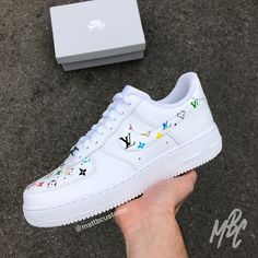 · White Nike with LV print over swoosh & toe box. - Paint is crack & water resistant - Hand Painted - Shipped Class Tracked Colourways available: ClassicMulticolour Red White Black Shoes are… Tenis Air Force, Nike Shoes Air Force, Converse Noir, Custom Painted Shoes, Nike Custom Shoes, Customised Shoes, Hype Shoes, Women's Shoes, Shoes Style