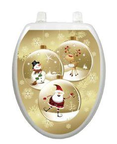 Snow Globes Christmas Toilet Tattoo TT-X627-O Elongated Winter Holiday
