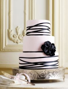 Pink cake with black ribbon - gorgeous I love how minimal this is... it looks so elegant.