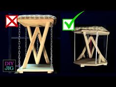 """In the first version of this """"Impossible stool"""" I used chains However, this had several disadvantages. the chains made a noise. Woodworking Courses, Woodworking Workbench, Custom Woodworking, Woodworking Furniture, Japanese Woodworking, Awesome Woodworking Ideas, Woodworking Projects That Sell, Woodworking Crafts, Woodworking Organization"""