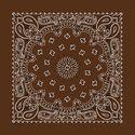 "Paisley Bandanas -  Twistedpeace.us  Cocoa Brown Paisley Bandanna 22"" 100% cotton, made in USA"