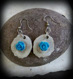 real deer antler earrings,blue sparkle rose deer antler earrings by FindleysDreamTree on Etsy