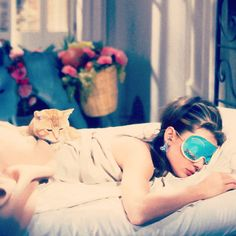 Audrey Hepburn in Breakfast At Tiffanys in 1961. - Ironically I have a turquoise eye mask with rhinestone eyelashes too :)