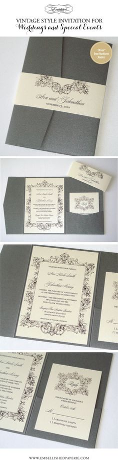 Vintage Wedding Invitation in Pewter Grey and Ivory. Pewter Grey Metallic Pocket folder with Belly Band. Invitation and RSVP Cards printed on Ivory metallic card stock. Perfect Elegant Invitation for a Vintage Wedding or Event.