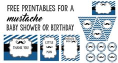Mustache Food Labels Free Printable: Print these food tag buffet cards to use at your baby shower or birthday party. You can also use them as place cards! Mustache Theme, Mustache Birthday, Mustache Party, Lego Birthday, Birthday Ideas, Free Baby Shower Printables, Baby Shower Themes, Free Printables, Printables