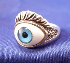 Wild ~ Blue Eye Sterling Ring ~ Size 7.5 ~ Found on Ruby Lane #RubyLane