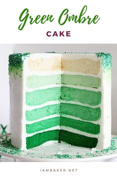 Make your Saint Patrick's day more trendy with this Green Ombre Cake! This is a simple cake layered with shades of green! Add some rainbow sprinkles on your frostings and you're good to go! Cupcakes, Cupcake Cakes, Inside Cake, Cake Recipes, Dessert Recipes, Plain Cake, Green Cake, St Patricks Day Food, Ombre Cake