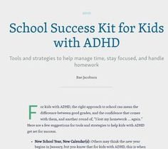 School Success Kit for Kids with ADHD | Child Mind Institute