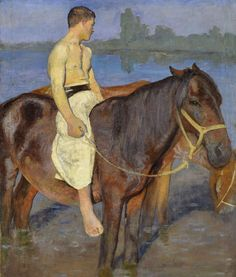 Károly Ferenczy (Hungarian, 1862-1917), Boy at the Riverside, ca. 1900-1903, Oil on canvas, 116 x 97 cm.