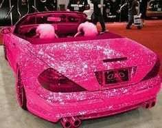 Sparkly pink car