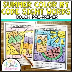 Summer Color By Code Sight Words Dolch Pre-Primer by Primary Playground