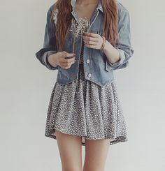 korean fashion denim top with small busy pattern skirt, I could probably get something simple like this from Target, Or Ardenes, And It would probably turn out to be one of my favorite outfits :D ^^ <3