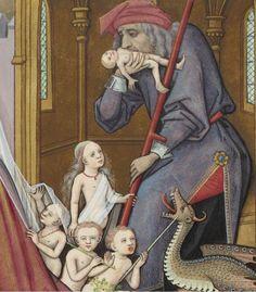 """""""Saturn Devouring His Children"""" (detail) by Robinet Testard (circa 1496-1498)"""