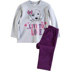 Conjunto Infantil de Moleton Feminino Cachorrinho Cinza - Brandili :: 764 Kids | Roupa bebê e infantil
