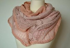 Women's pink scarf shawl patchwork shabby scarf autumn
