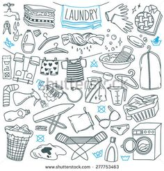 Laundry themed doodle set. Various equipment and facilities for washing, drying and ironing clothes. Freehand vector sketches isolated over white background.