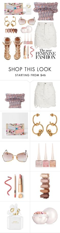 """""""White faux pearl embellished denim"""" by lidia-solymosi ❤ liked on Polyvore featuring Isabel Marant, Philosophy di Lorenzo Serafini, River Island, J.W. Anderson, Vintage Eyewear, Christian Louboutin, Marc Jacobs, Guerlain and Versace"""