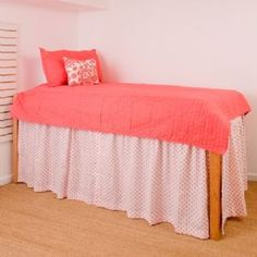 Bedding inspiration: Find a oversized sheet to act as a long bed skirt. Good for if you have a tall bed or risers.