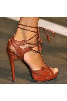 Elegant Brown High Heel Stiletto Sandals