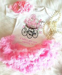 """Vintage Floral Baby Carriage - """"I Believe You Were Expecting Me"""" Onesie/Shirt"""