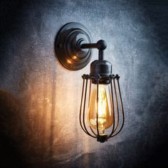 Orlando Vintage Wire Cage Retro Sconce Wall Light – Dark Pewter Anyone can develop a house sweet house, even when the price range is tight. Rustic Wall Lighting, Industrial Wall Lights, Vintage Wall Lights, Rustic Wall Sconces, Retro Lighting, Outdoor Wall Lighting, Living Room Lighting, Bar Lighting, Lighting Direct