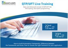 QTP/UFT #LiveTraining -------------------------------- http://www.itelearn.com/events/qtpuft-live/  #QTP/ #UFT Live Training  program will help to shape your confidence and give you a good hands-on practical exposure on UFT tool. Do not miss this great opportunity to attend this Live training with ITeLearn.com. The #FreeOrientationSession will be conducted on 22nd July at 6.30 PM PST/23rd July 7.00 AM IST.
