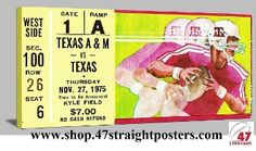 Football Art. 1975 Texas vs. Texas AM football ticket art. The # 2 Aggies beat Texas 20-10 in College Station. Texas AM gifts, Texas AM football gifts, Texas football art, Texas football tickets, college football art, game room art, Best Fathers Day Gifts 2013, Fathers Day Gift Ideas, Mobile shopping Fathers Day gifts.