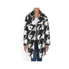 Wool Blend Houndstooth Coat ($79) ❤ liked on Polyvore featuring outerwear, coats, hounds tooth coat, print coat, lapel coat, houndstooth coat and oversized lapel coat