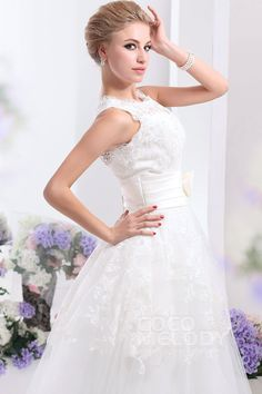 Pretty A-Line Jewel Natural Ankle Length Organza Ivory Sleeveless Zipper Wedding Dress with Sashes and Appliques CWZA14001 #weddingdress #cocomelody